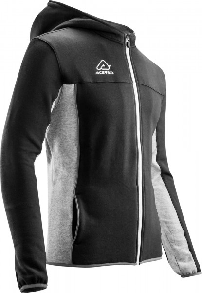 ACERBIS HOODIE FULL ZIP EVO BLACK GREY MEDIUM Medium 22194.319.064